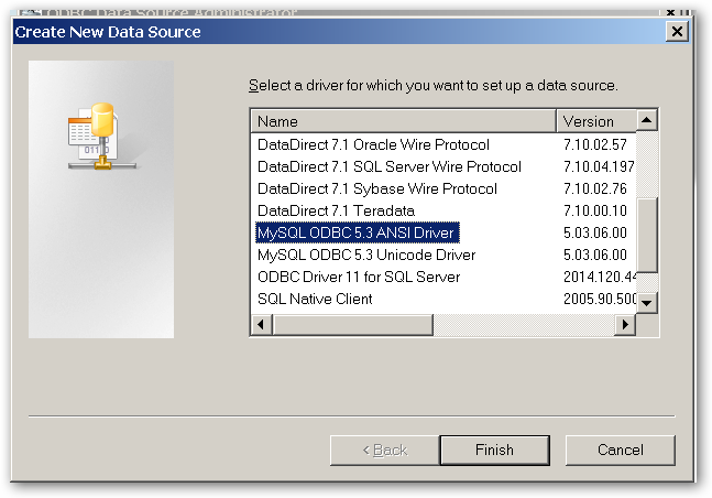 CreateNewDataSource - SelectADriver