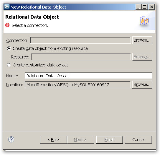 RelationalDataObject- SelectAConnection