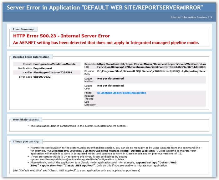 HTTP Error 500DOT23