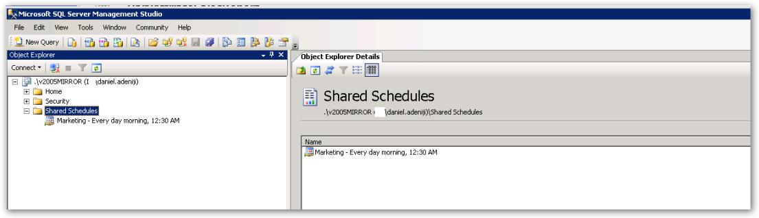 ObjectExplorer - SharedSchedules