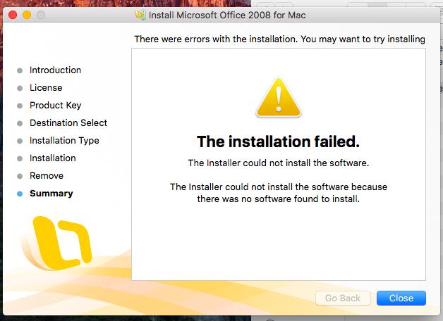 "Microsoft – Office On Mac OS/X – Install Error – ""no"