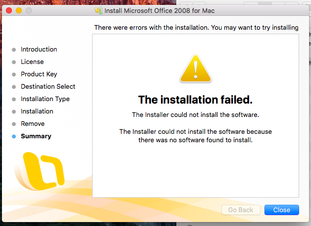 theinstallationfailed therewasnosoftwarefoundtoinstall