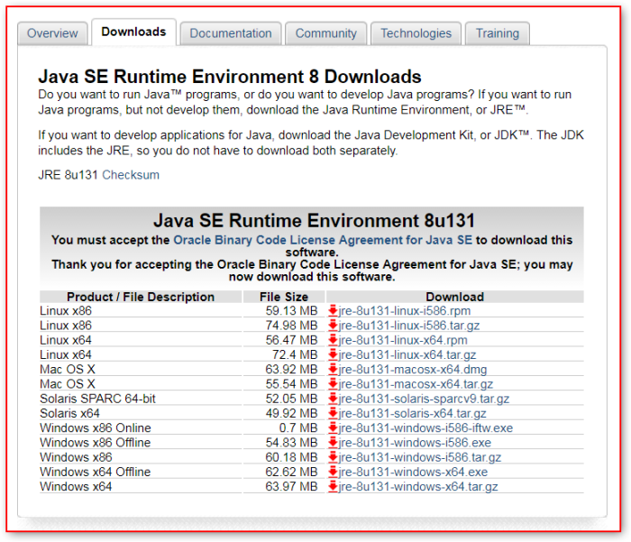 download java 8 update 131 32 bit offline installer