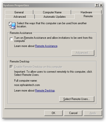 """Windows 2003 – """"Enable Remote Desktop on this computer"""" greyed out"""