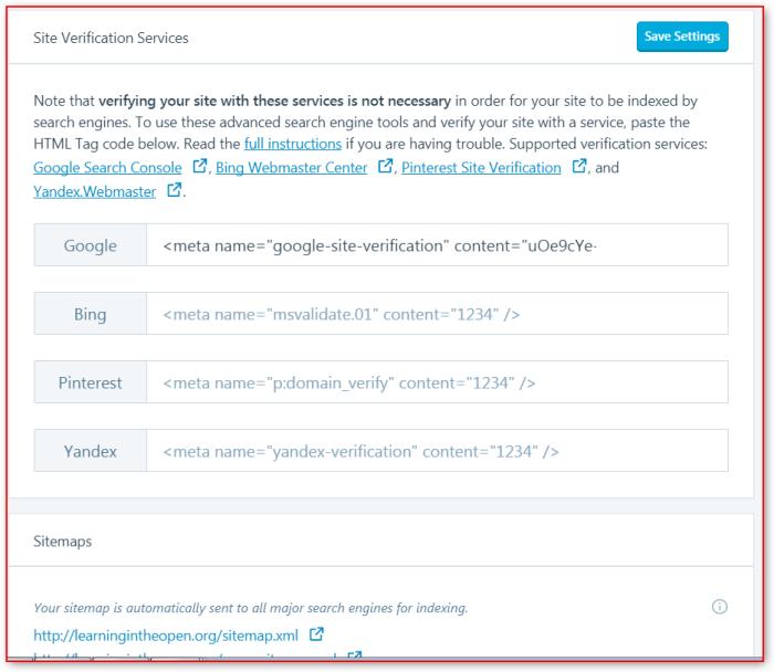 wordpress bing webmaster registering site learning in the open