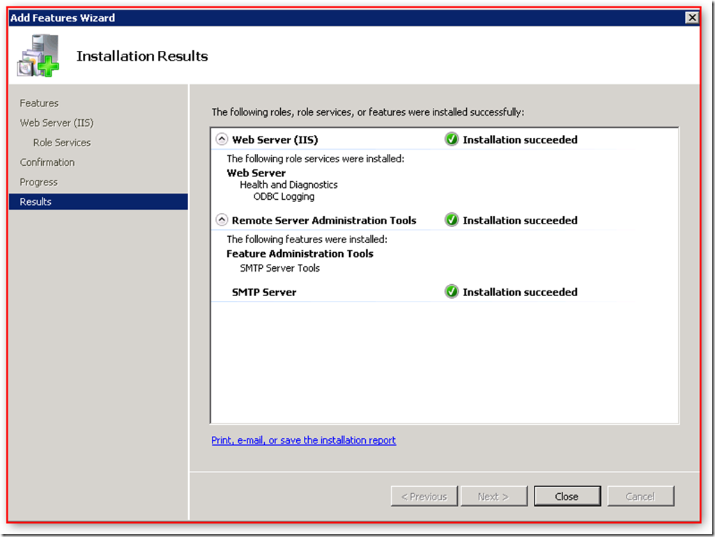 SelectFeatures_SMTP_WebServer_IIS_RoleServices_InstallationResults_201708087_0435PM