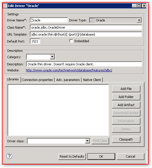 DBeaver – Database Connection Configuration – Oracle