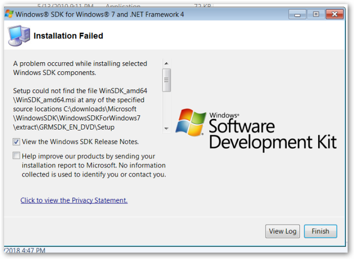 "Windows SDK for Windows 7"" – Installation – Error – ""Setup"