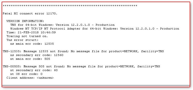Fatal Ni Connect Error 12170 Tips