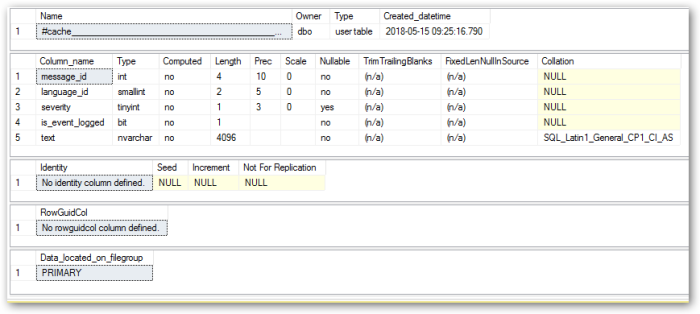 Sql Server Temp Table Structure Learning In The Open