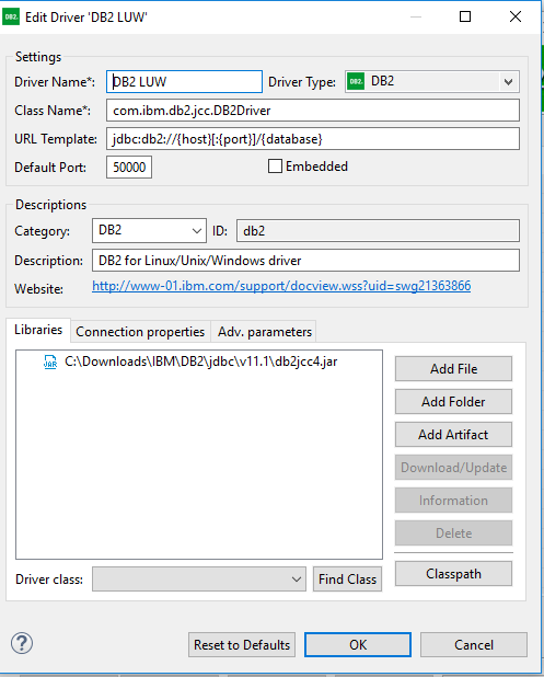 DBeaver – Database Connection Configuration – IBM – DB2 / UDB JDBC