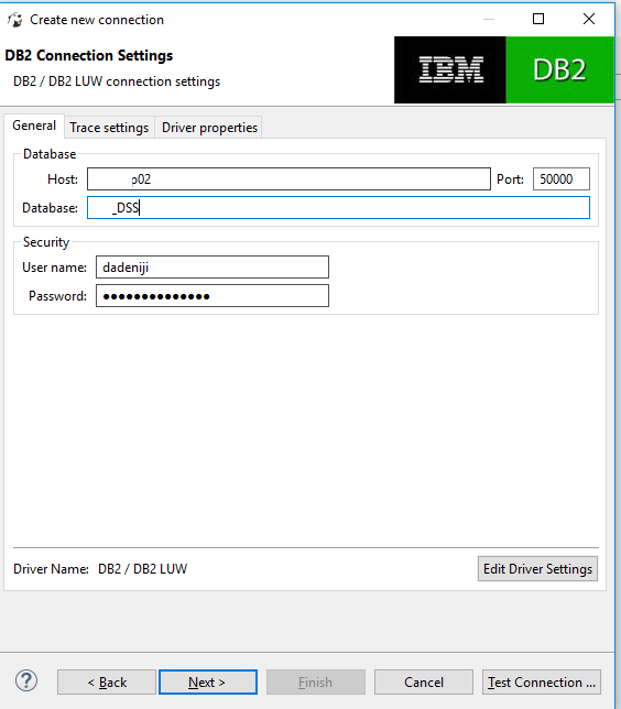 DBeaver – Database Connection Configuration – IBM – DB2