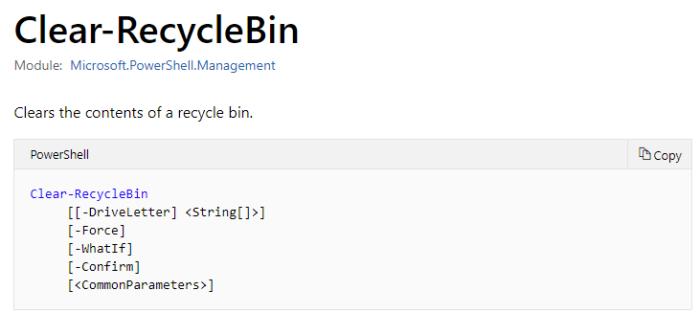 Clear-RecycleBin-Syntax