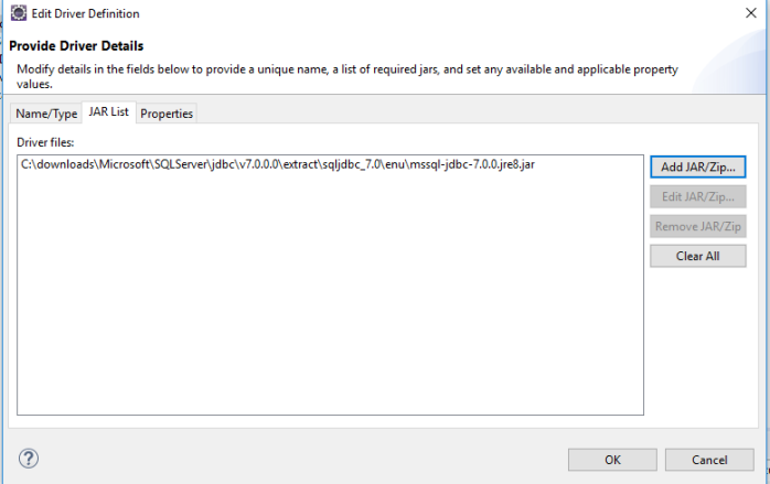Eclipse – Data Source Explorer – SQL Server – Configuration