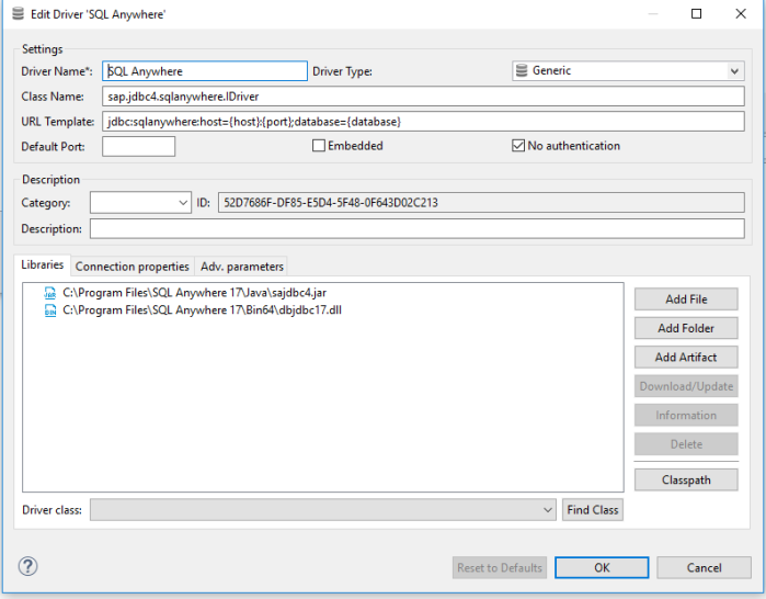 DBeaver / SQL Anywhere – Database Connection Setup | Learning in the